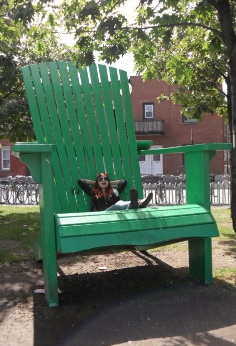 "Relaxing on the ""Big Green Chair"" by Mont-Royal station"