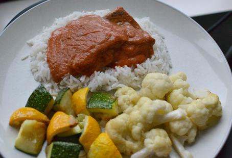 Salmon in an Indian Tomato Cream Sauce with Summer Squash and Cauliflower