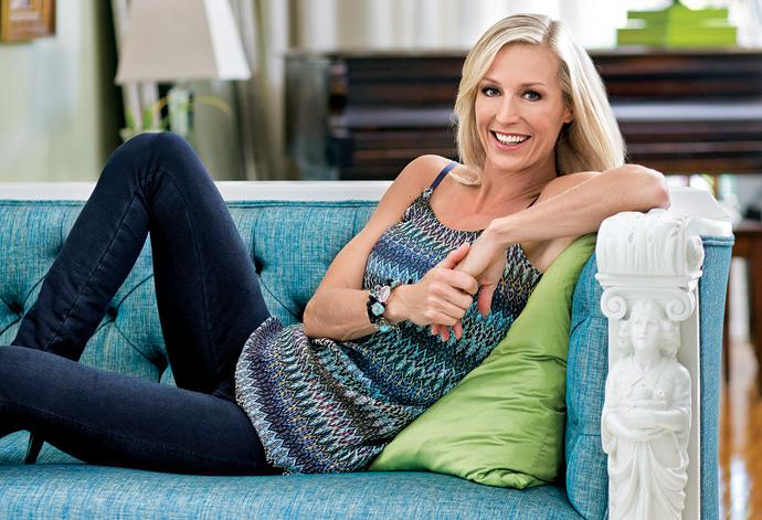 Candice Olsen poses on her Tuscany-designed chaise lounge