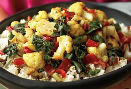 Cauliflower and Rainbow Chard Curry