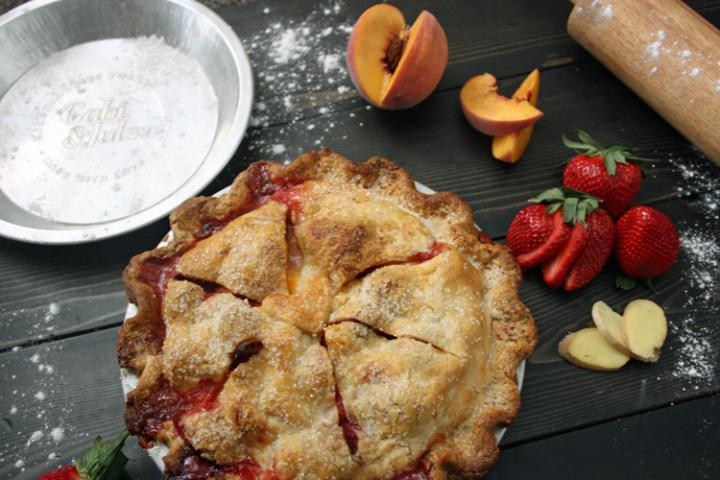 Strawberry, Ginger, and Peach Pie