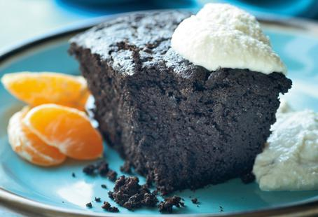 Quinoa gives this dark chocolate cake texture without the sugary sweetness