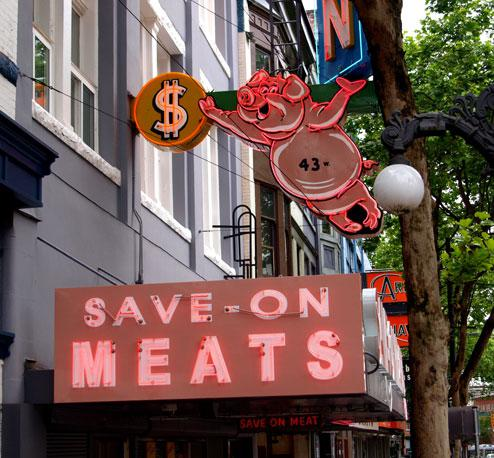 The resurrected Save-On-Meats at 43 West Hastings St.