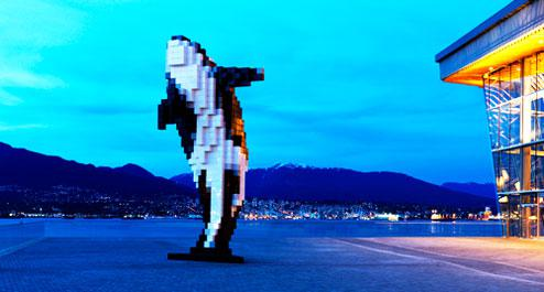 Douglas Coupland's digital orca at the Vancouver Convention Centre