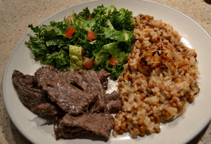 Fragrant beef, hearty lentils and rice make up this Lebanese meal