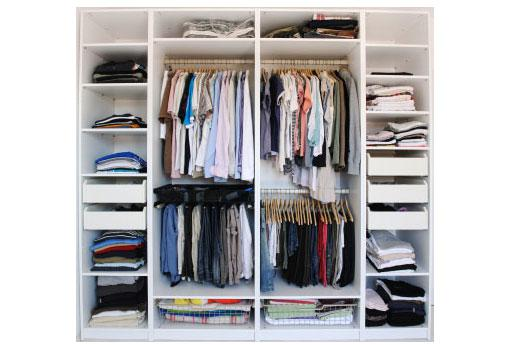 A well organized closet makes effective use of small spaces