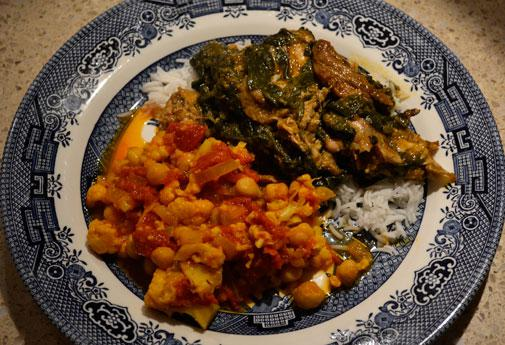 spinach indian spiced chicken legs with chick peas spinach chickpeas ...