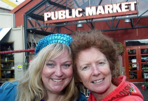 The author and her sister savour the flavours of Granville Island Market