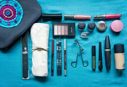 Choose makeup products that serve a double duty to keep your suitcase light