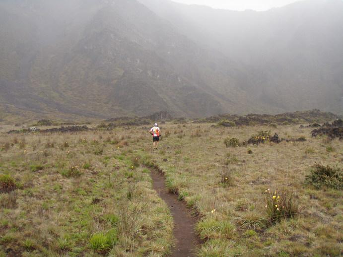 Running in the Haleakala crater on Maui.