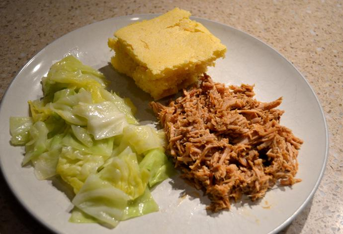 Oven-roasted Pulled Pork, Green Cabbage and Sweet Cornbread